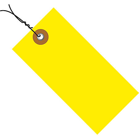 "Tyvek® Prewired Shipping Tags, #5, 4 3/4"" x 2 3/8"", Yellow, Box Of 100"