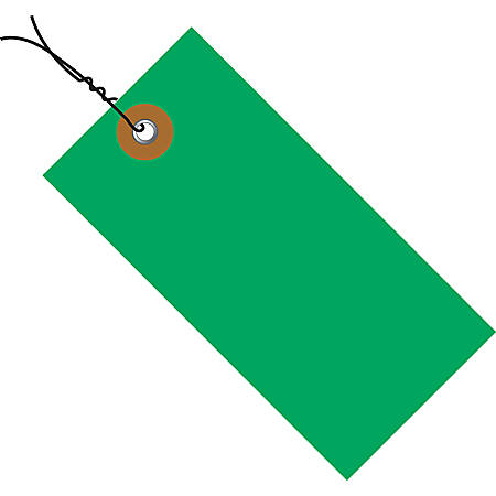 "Tyvek® Prewired Shipping Tags, #5, 4 3/4"" x 2 3/8"", Green, Box Of 100"