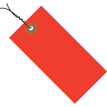 "Tyvek® Prewired Shipping Tags, #5, 4 3/4"" x 2 3/8"", Red, Box Of 100"