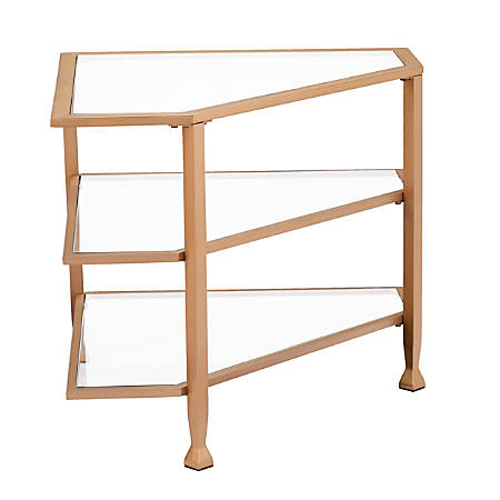 "Southern Enterprises Jaymes Metal/Glass Corner TV Stand For Flat-Screen TVs, 23""H x 35-1/4""W x 24""D, Soft Gold"