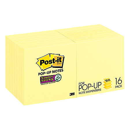"Post it® Super Sticky Pop up Notes, 3"" x 3"", Canary Yellow, Pack Of 16 Pads"