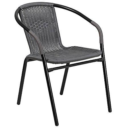 Flash Furniture Rattan Stack Chair, Gray/Black