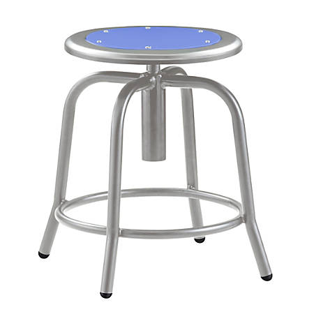 National Public Seating 6800 Height-Adjustable Swivel Stool, Blue/Gray