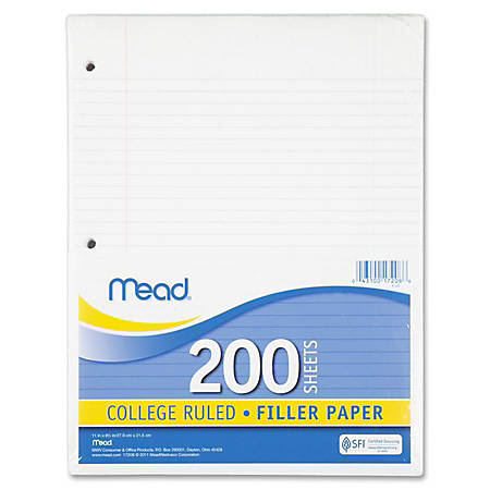 """Mead Notebook Filler Paper - Letter - 200 Sheets - Spiral - 0.31"""" Ruled - Ruled Red Margin - 16 lb Basis Weight - 8 1/2"""" x 11"""" - White Paper - Heavyweight, Reinforced Edges - 200 / Pack"""