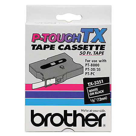 "Brother® TX-3351 White-On-Black Tape, 0.5"" x 50'"