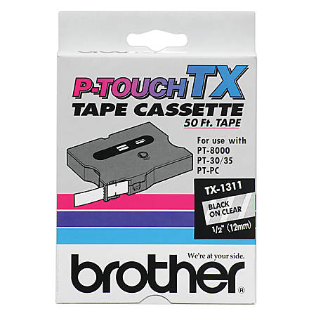 """Brother® TX-1311 Black-On-Clear Tape, 0.5"""" x 50'"""