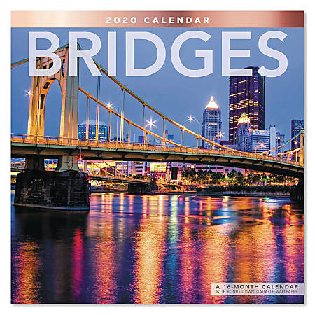 """Mead® Bridges Monthly Wall Calendar, 12"""" x 12"""", January To December 2020, ODE31710"""