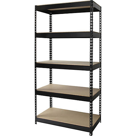 "Lorell® 5-Shelf Riveted Steel Shelving, 72""H x 36""W x 16""D, Black"