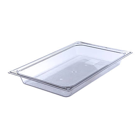 """StorPlus Full-Size Plastic Food Pans, 2 1/2""""H x 12 3/4""""W x 20 3/4""""D, Clear, Pack Of 6"""