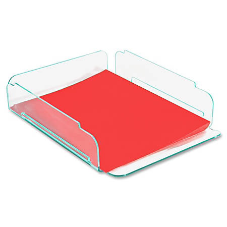 "Lorell® Acrylic Single Stacking Letter Tray, For * 1/2"" x 11"" Use, Clear/Green Edge"