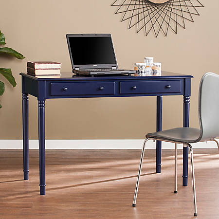 Southern Enterprises Janice Farmhouse 2-Drawer Writing Desk, Navy