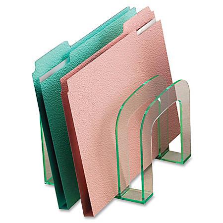 "Lorell® Acrylic Large File Sorter, 8 5/16""W x 9 7/8""D x 14 3/4""H, Clear/Green Edge"