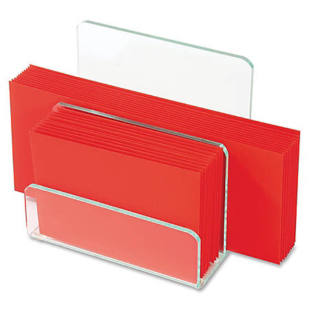 """Lorell® Acrylic Mini File Sorter, 7 5/16""""W x 8 1/8""""D x 8 5/16""""H, Clear/Green Edge"""