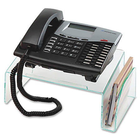 """Lorell® Acrylic Phone Stand, 11""""W x 10""""D x 5 1/2""""H, Clear/Green Edge"""