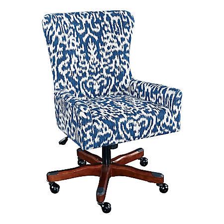 Linon Home Décor Harlow Fabric Mid-Back Chair, Navy/Dark Walnut