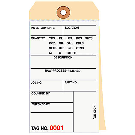 Manila Inventory Tags, 3-Part Carbonless, 1000-1499, Box Of 500