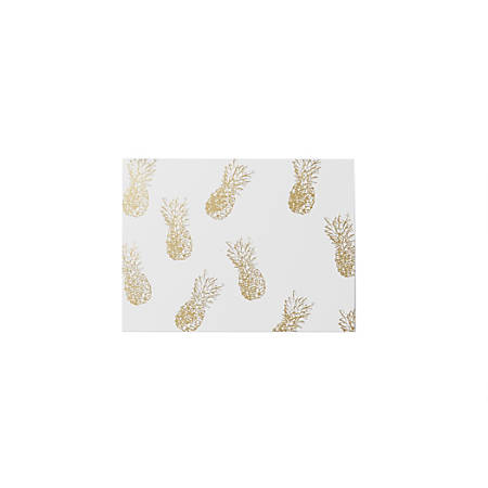 """Sincerely A Collection by C.R. Gibson® Top-Fold Boxed Notes, 5"""" x 3 3/4"""", Gold Pineapple, Pack Of 10"""