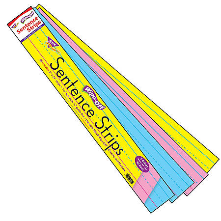 "TREND Wipe-Off® Sentence Strips, 3"" x 24"", Assorted Colors, Kindergarten - Grade 3, 30 Strips Per Pack, Set Of 4 Packs"