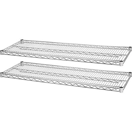 "Lorell® Industrial Wire Shelving Extra Shelves, 48""W x 24""D, Chrome, Set Of 2"