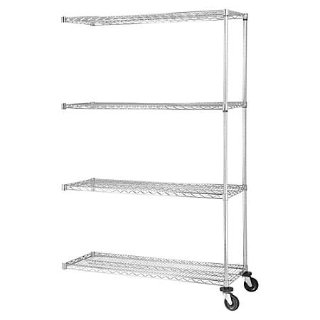 """Lorell® Industrial Wire Shelving Add-On Unit, 48""""W x 18""""D, Chrome"""