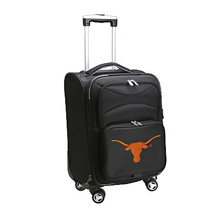 """Denco Sports Luggage Expandable Upright Rolling Carry-On Case, 21"""" x 13 1/4"""" x 12"""", Black, Texas Longhorns"""