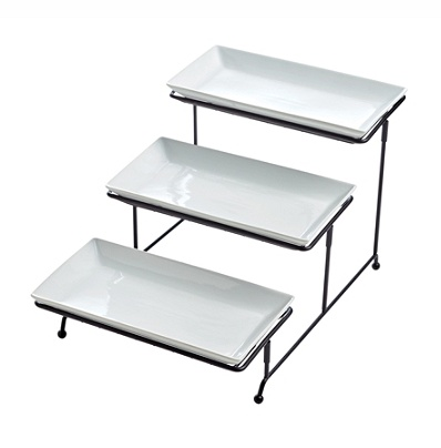 Riley Co 3 Tier Serving Platter Set With Stand White Item 5048315