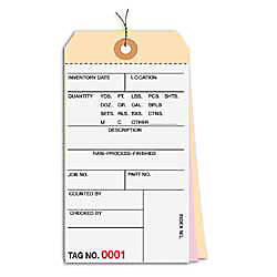 Prewired Manila Inventory Tags 3 Part