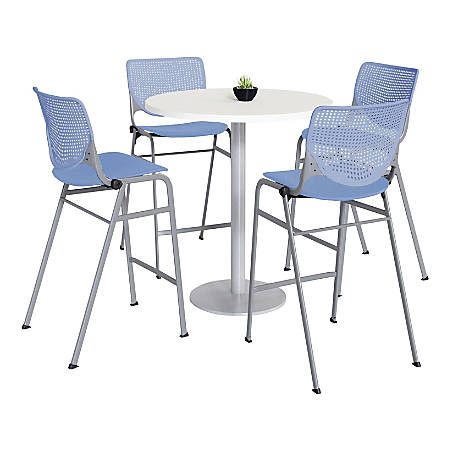 "KFI Studios KOOL Round Pedestal Table With 4 Stacking Chairs, 41""H x 36""D, Designer White/Peri Blue"