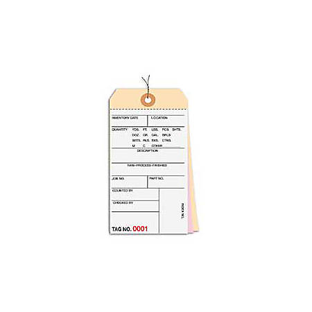 Prewired Manila Inventory Tags, 3-Part Carbonless, 10000-10499, Box Of 500