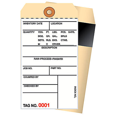 Manila Inventory Tags, 2-Part Carbon Style, 500-999, Box Of 500