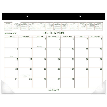 """AT-A-GLANCE® 2-Color Monthly Desk Pad Calendar, 21 3/4"""" x 17"""", January to December 2019"""