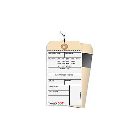 Prewired Manila Inventory Tags, 2-Part Carbon Style, 0-499, Box Of 500
