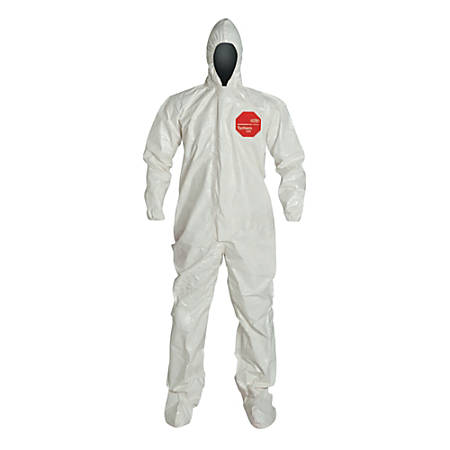 DuPont Tychem SL Coveralls With Hood And Socks, X-Large, White, Pack Of 6 Coveralls