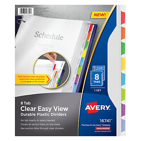 Avery Clear Easy View Plastic Dividers 8 Tab Multicolor by Office ...
