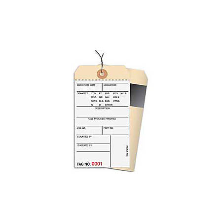 Prewired Manila Inventory Tags, 2-Part Carbon Style, 4000-4499, Box Of 500