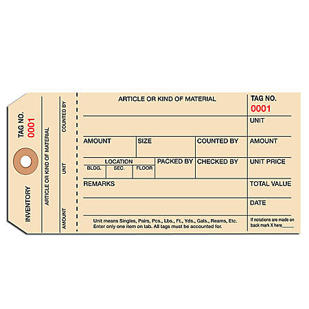 Manila Inventory Tags, 1-Part Stub Style, 5000-5999, Box Of 1,000