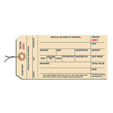 Prewired Manila Inventory Tags, 1-Part Stub Style, 4000-4999, Box Of 1,000