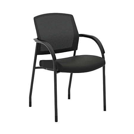 HON® Lota Stacking Multi-Purpose Side Chair, Fixed Loop Arms, Black