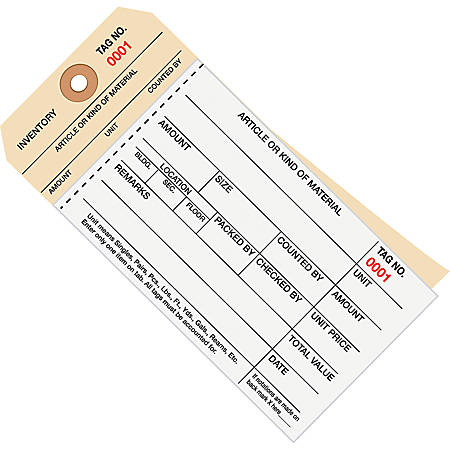 Manila Inventory Tags, 2-Part Carbonless Stub Style, 0-499, Box Of 500