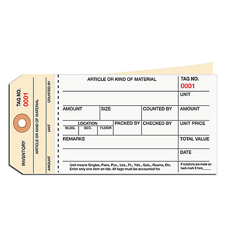 Manila Inventory Tags, 2-Part Carbonless Stub Style, 1000-1499, Box Of 500