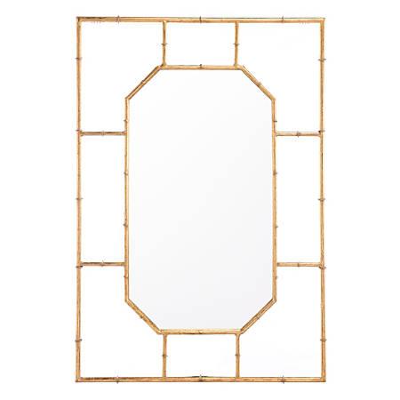"""Zuo Modern Bamboo Rectangular Mirror, 34 5/16""""H x 23 1/4""""W x 1""""D, Gold"""