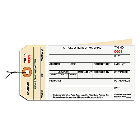 Prewired Manila Inventory Tags, 2-Part Carbonless Stub Style, 1000-1499, Box Of 500