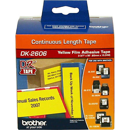 """Brother® DK-2606 Black-On-Yellow Tape, Continuous-Feed Film Roll, 2.5"""" x 50'"""