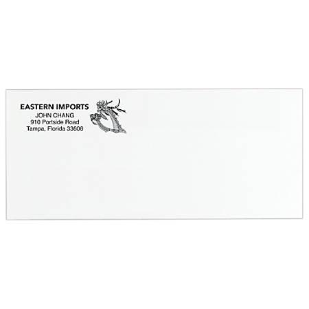 "Custom #10, Black Ink Flat-Print Envelopes, 4-1/8"" x 9-1/2"", Standard White, Box Of 250"