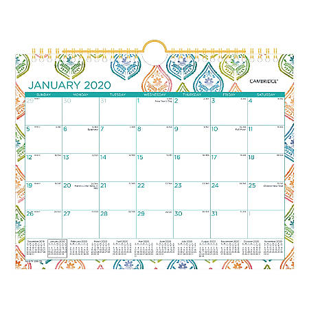 "Cambridge® Anna Monthly Wall Calendar, 11"" x 8-1/2"", Coral/Green/White, January To December 2020, W1258-709"