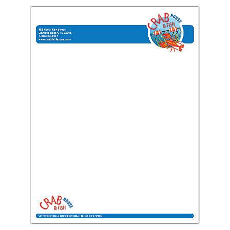"""Custom Full-Color Raised Print Stationery Letterhead, 8 1/2"""" x 11"""", White Bond, Box Of 250"""