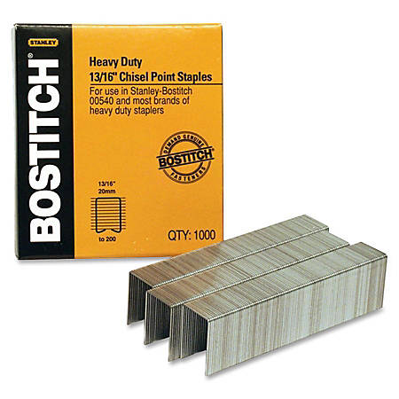 "Bostitch® Premium Heavy-Duty Staples, 13/16"" Size, Half-Strip, Box Of 1,000"
