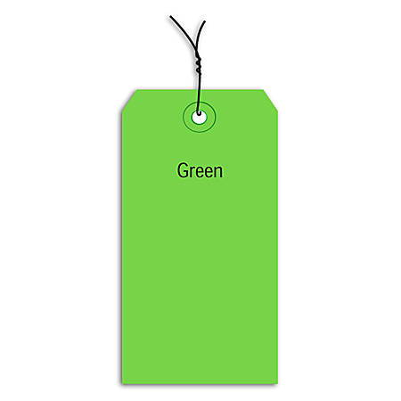 "Office Depot® Brand Prewired Color Shipping Tags, #3, 3 3/4"" x 1 7/8"", Green, Box Of 1,000"