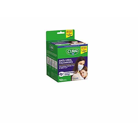 Medline Curad Antiviral Medical Face Masks, White/Green, Box Of 10