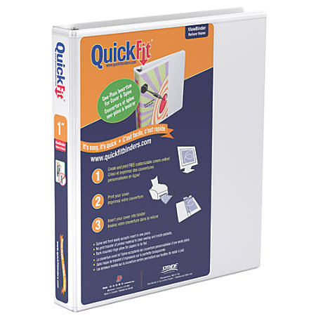 "Stride® QuickFit® Angle D-Ring View Binders, 225-Sheet Capacity, 1"" Rings, 50% Recycled, White"
